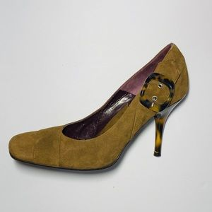 Via Spiga brown suede/tortoise stiletto heel